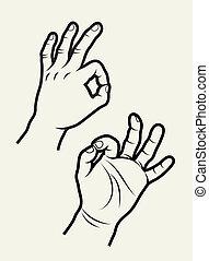 3, vetorial, sinais mão