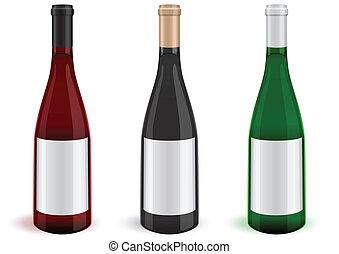 3, vinho, ilustração, bottles.