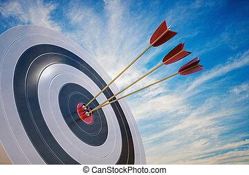 3, viszonoz, céltábla, ábra, arrows.