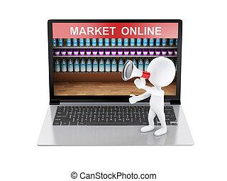 3, vit, folk, försäljning, meddelande, med, megafon, på, laptop.