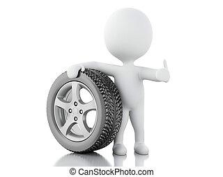 3, vit, folk, med, hjul, bil