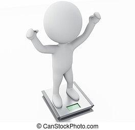 3, vit, folk, med, idealisk, vikt, och, scale.