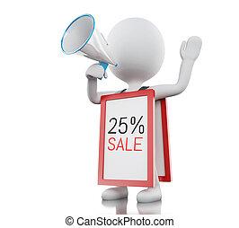 3, vit, folk, med, megafon, promotioning, 25%, rabatt