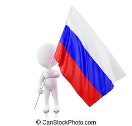 3, vit, folk, med, ryssland, flag.