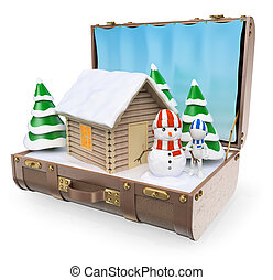 3, vit, folk., resa, destinations., snö, vinter, lov