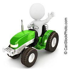 3, vit, folk, traktor