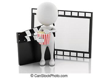 3, vit, man, med, bio, kläpp, popcorn, och, film, reel.