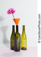 3 wacky still life bottle and flower - 3 glass bottles...