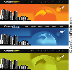 3 Web banners - Web banner with cityscape and a jet in 3...
