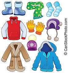 3, winter, sammlung, kleidung