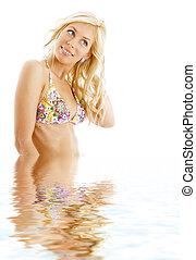 #3, woda, bikini, blond