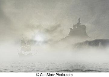 3, wolkenhimmel, hofburg, schiff
