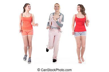 3 women, csinál, sport