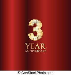 3 Year Anniversary Gold With Red Background Vector Template Design Illustration