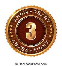 3 years anniversary golden brown label.