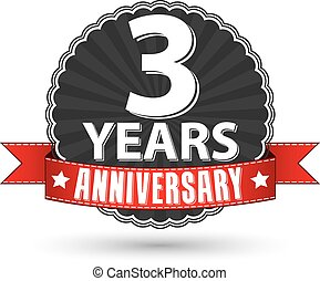 3 years anniversary retro label with red ribbon, vector illustration