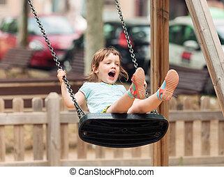 3 years child on swing
