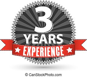 3 years experience retro label with red ribbon, vector illustration