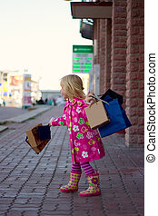 3 years old girl with shopping