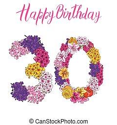 30, ディジット, 作られた, の, 別, 花, 隔離された, 白, バックグラウンド。, 誕生日おめでとう, inscription., ベクトル, イラスト