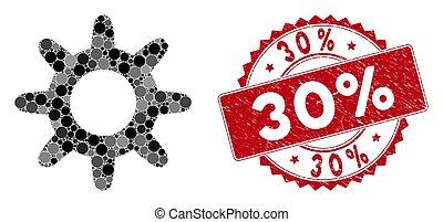 30%, ピニオン, コラージュ, 切手, textured