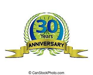 30, -, 記念日, 年, wreat, 月桂樹