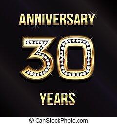 30, 년, 기념일, 로고