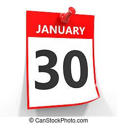 30, 1 月, カレンダー, シート, ∥で∥, 赤, pin.