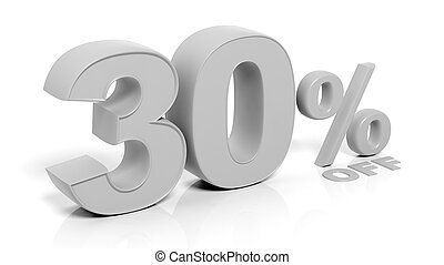 30% 3D numbers, isolated on white background.
