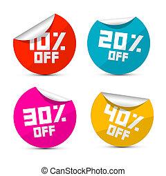 30%, 40%, od, etykiety, 10%, wektor, 20%, majchry, od