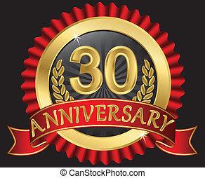 30, años, aniversario, dorado