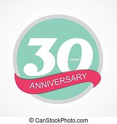 30, anniversaire, illustration, vecteur, gabarit, logo