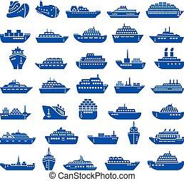 30, barco, y, barco, icono, set.