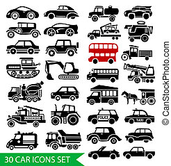 30 car icons set, black auto web pictogram collection
