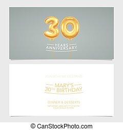 30, carte, conception, illustration., vecteur, pris parti, années, double, invitation, gabarit, graphique, anniversaire