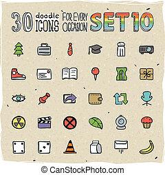 30 Colorful Doodle Icons Set 10