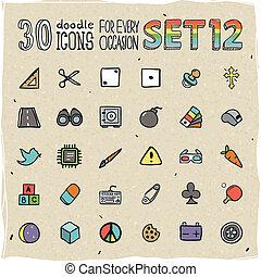 30 Colorful Doodle Icons Set 12