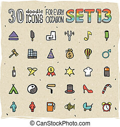30 Colorful Doodle Icons Set 13
