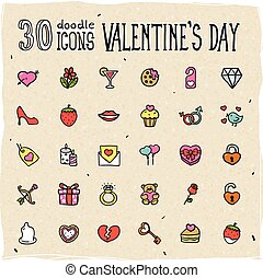 30 Colorful Doodle Valentine's Day Icons