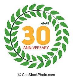 30, couronne, anniversaire, illustratio, vecteur, gabarit, ...