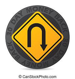 30, dag, geld, back, borg staan voor, etiket, met, wegaanduiding