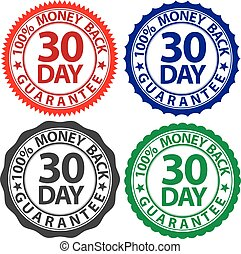 30 day 100% money back guarantee sign set, vector illustration
