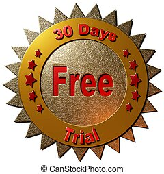30 days free trial (red & gold) - A gold and red seal ...