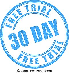 30 days free trial round stamp