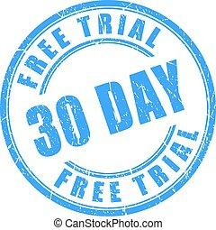 30 days free trial round stamp