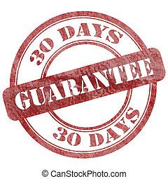 30 Days Guarantee Red Grunge Seal Stamp
