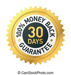 30, dias, dinheiro, costas, garantia, etiqueta