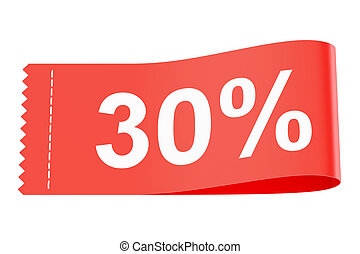 30% discount clothing tag, 3D rendering