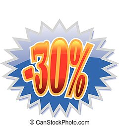 30% discount label - Blue discount label with red -25%....