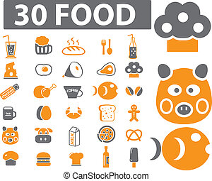 30 food signs - 30 food basic signs, vector